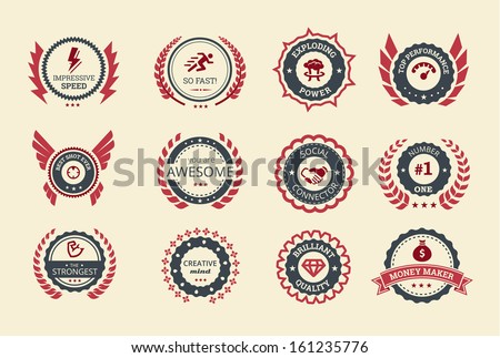 Achievement badges for games or applications. Two shades of color. - stock vector