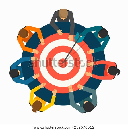Achieving goal concept. Businesspeople  holding  target with arrow  on the table, vector illustration - stock vector