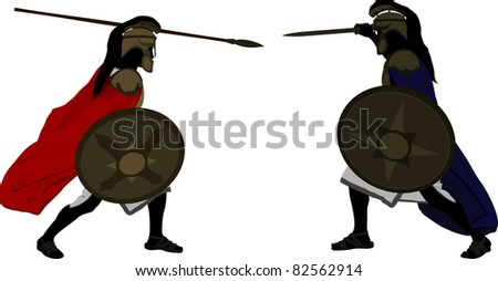 Achilles and Hector. vector illustration - stock vector
