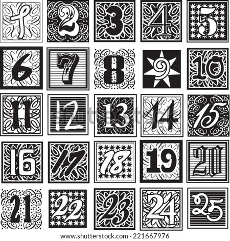 Achromatic advent calendar numbers - countdown