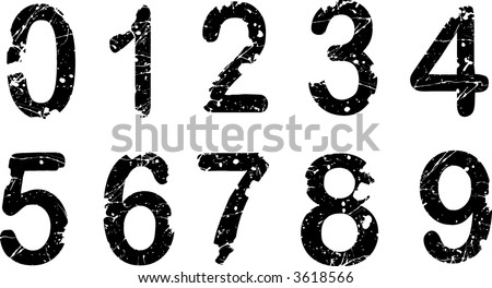 Acid Etched - Home made font Numbers 0-9 - stock vector