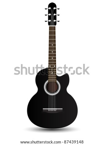 acoustic classic guitar illustration isolated on white background, vector - stock vector