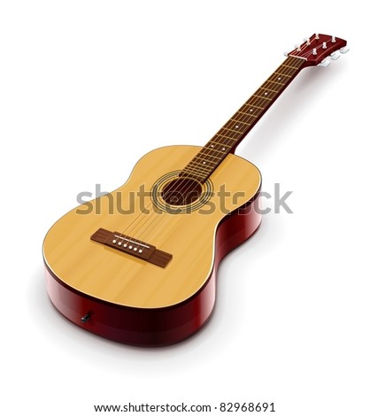 acoustic classic guitar vector illustration isolated on white background - stock vector