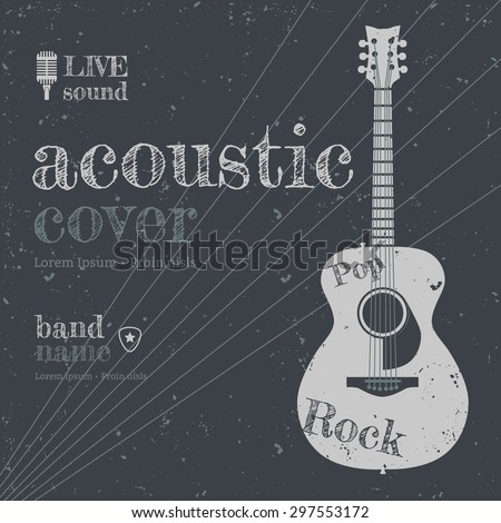 Acoustic concert show poster with acoustic guitar vector illustration - stock vector