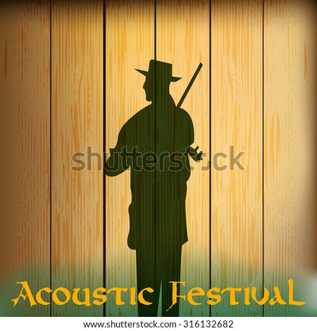 Acoustic festival flyer for a folk music event  - stock vector