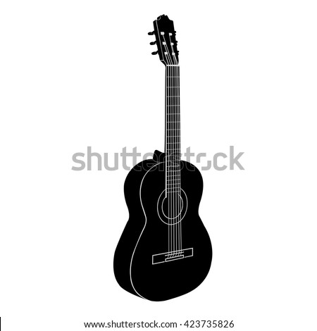 Acoustic guitar. Black - white vector illustration. Isolated object. - stock vector