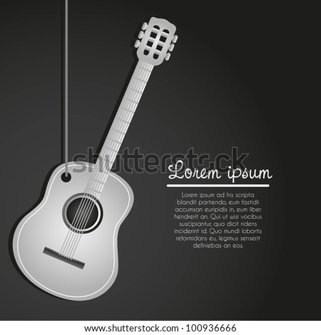 acoustic guitar hanging on black background - stock vector