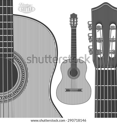 Acoustic Guitar in engraving style. Vector illustration isolated grouped, transparent background - stock vector
