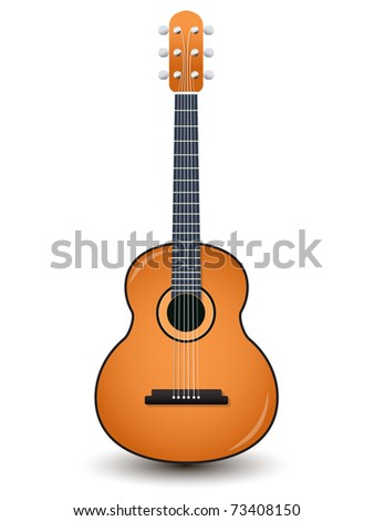 Acoustic guitar isolated on a white - stock vector