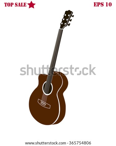 Acoustic guitar isolated silhouette on white background vector illustration  - stock vector