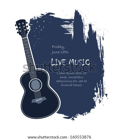 Acoustic guitar live music banner template vector illustration - stock vector