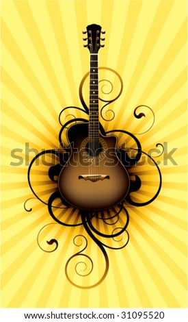 acoustic guitar on a floral background - stock vector