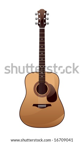acoustic guitar on a white background - stock vector