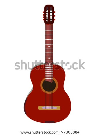 Acoustic guitar on white. Vector - stock vector