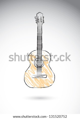 acoustic guitar over white background vector illustration - stock vector