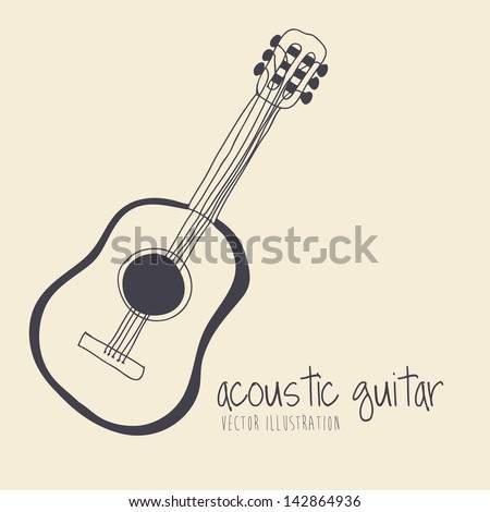 acoustic guitar over yellow background vector illustration - stock vector