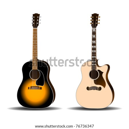 Acoustic guitar set eps10 - stock vector