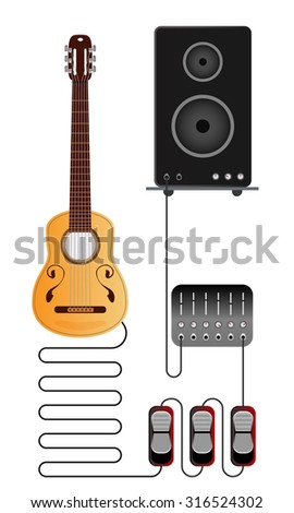 Acoustic guitar setup scheme with mixer, pedals and amplifier.