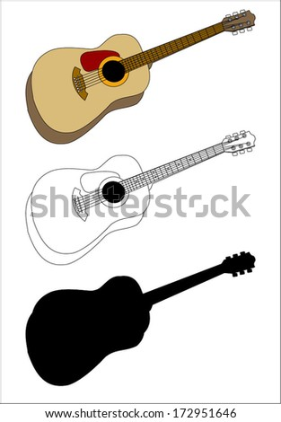 Acoustic guitar, silhouette and outline, vector art image illustration, isolated on white background eps10 - stock vector