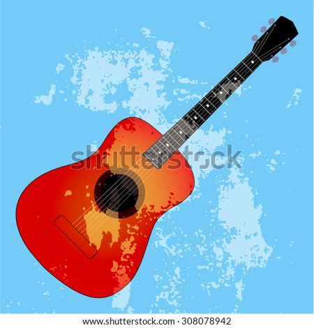 Acoustic guitar silhouette on a blue background, vector illustration - stock vector