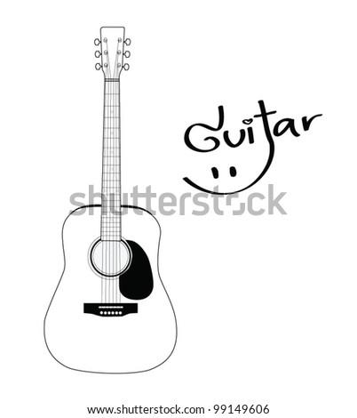 Acoustic Guitar - Vector - stock vector