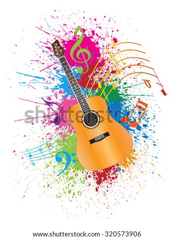 Acoustic Guitar with Musical Notes and Paint Splatter Abstract Effect Color Vector Illustration