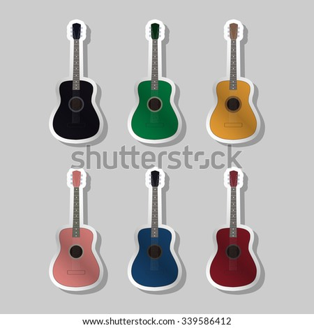 Acoustic guitars different color, vector illustration - stock vector