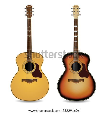 Acoustic guitars isolated on  white background. Vector illustration - stock vector