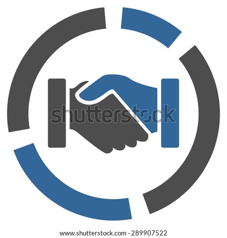 Acquisition diagram icon from Business Bi-color Set. Vector style: bi-color flat symbol, cobalt and gray colors, rounded angles, white background. - stock vector