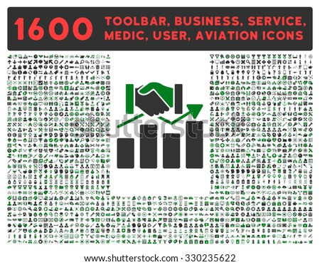 Acquisition Graph vector icon and 1600 other business, service tools, medical care, software toolbar, web interface pictograms. Style is bicolor flat symbols, green and gray colors, rounded angles - stock vector