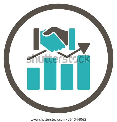 Acquisition Graph vector icon. Style is bicolor flat circled symbol, grey and cyan colors, rounded angles, white background. - stock vector