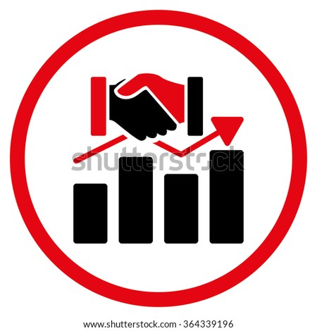 Acquisition Graph vector icon. Style is bicolor flat circled symbol, intensive red and black colors, rounded angles, white background. - stock vector