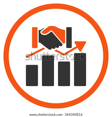 Acquisition Graph vector icon. Style is bicolor flat circled symbol, orange and gray colors, rounded angles, white background. - stock vector
