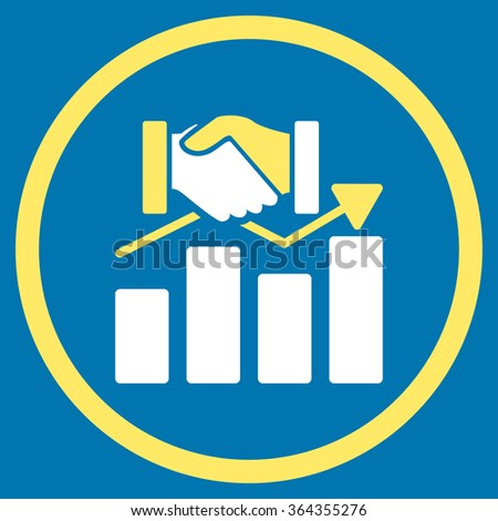 Acquisition Graph vector icon. Style is bicolor flat circled symbol, yellow and white colors, rounded angles, blue background. - stock vector