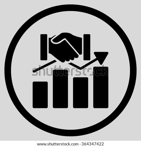Acquisition Graph vector icon. Style is flat circled symbol, black color, rounded angles, light gray background. - stock vector