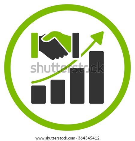 Acquisition Growth vector icon. Style is bicolor flat circled symbol, eco green and gray colors, rounded angles, white background. - stock vector
