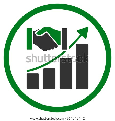 Acquisition Growth vector icon. Style is bicolor flat circled symbol, green and gray colors, rounded angles, white background. - stock vector