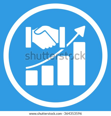 Acquisition Growth vector icon. Style is flat circled symbol, white color, rounded angles, blue background. - stock vector