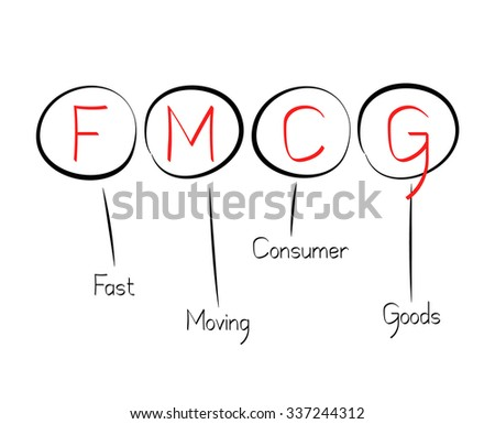 Acronym FMCG as Fast Moving Consumer Goods - stock vector