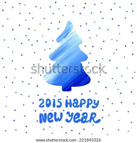 Acrylic Christmas tree. New Years background. Vector illustration. - stock vector
