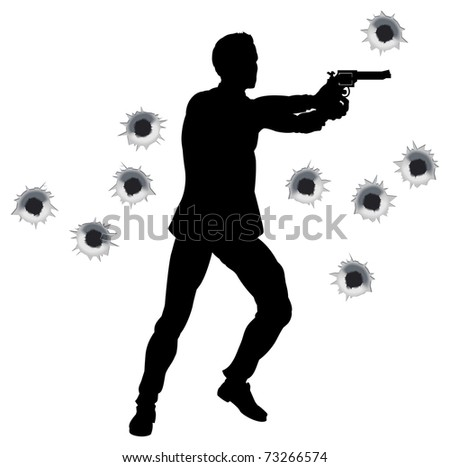 Action hero standing and shooting in film styleshoot out action sequence. With bullet holes. - stock vector