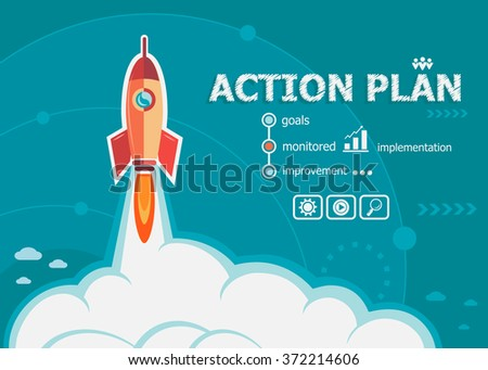 Action plan and concept background with rocket. Project Action plan concepts for web banner and printed materials.