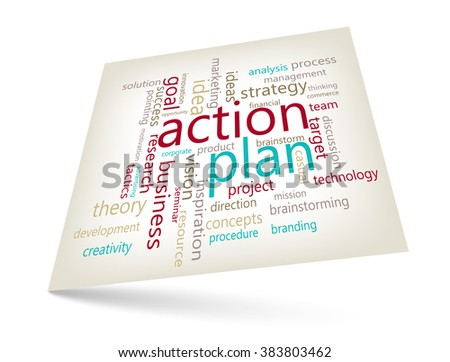 Action plan concept - word cloud marketing graphic theme