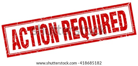 action required red grunge square stamp on white - stock vector