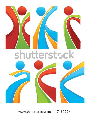 active and sportive abstract people,vector collection of symbols - stock vector