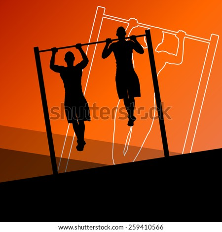 Active and strong fitness men doing push ups muscles training in sport silhouettes gym background illustration vector
