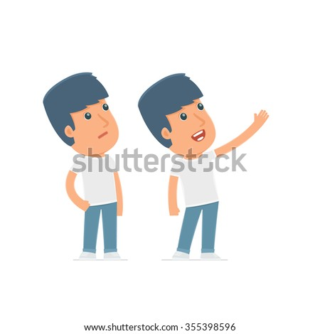 Active Character Activist making presentation of new services to the customer. Poses for interaction with other characters from this series - stock vector