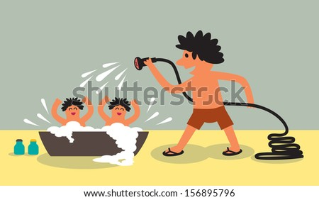Active daddy bathing his kids with sprinkle watering vector art - stock vector