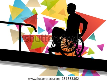 Active disabled man in a wheelchair medical health concept silhouette illustration background vector - stock vector