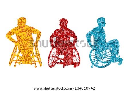 Active disabled men wheelchair vector background concept - stock vector